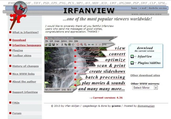 irfanview homepage