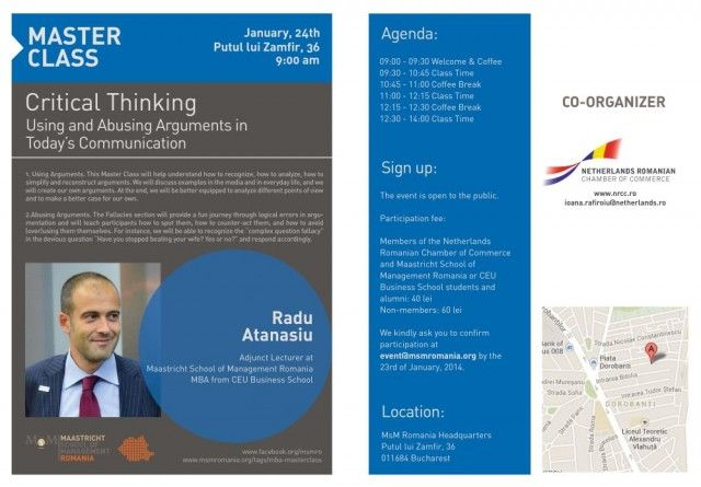 Flyer Radu Atanasiu Critical Thinking