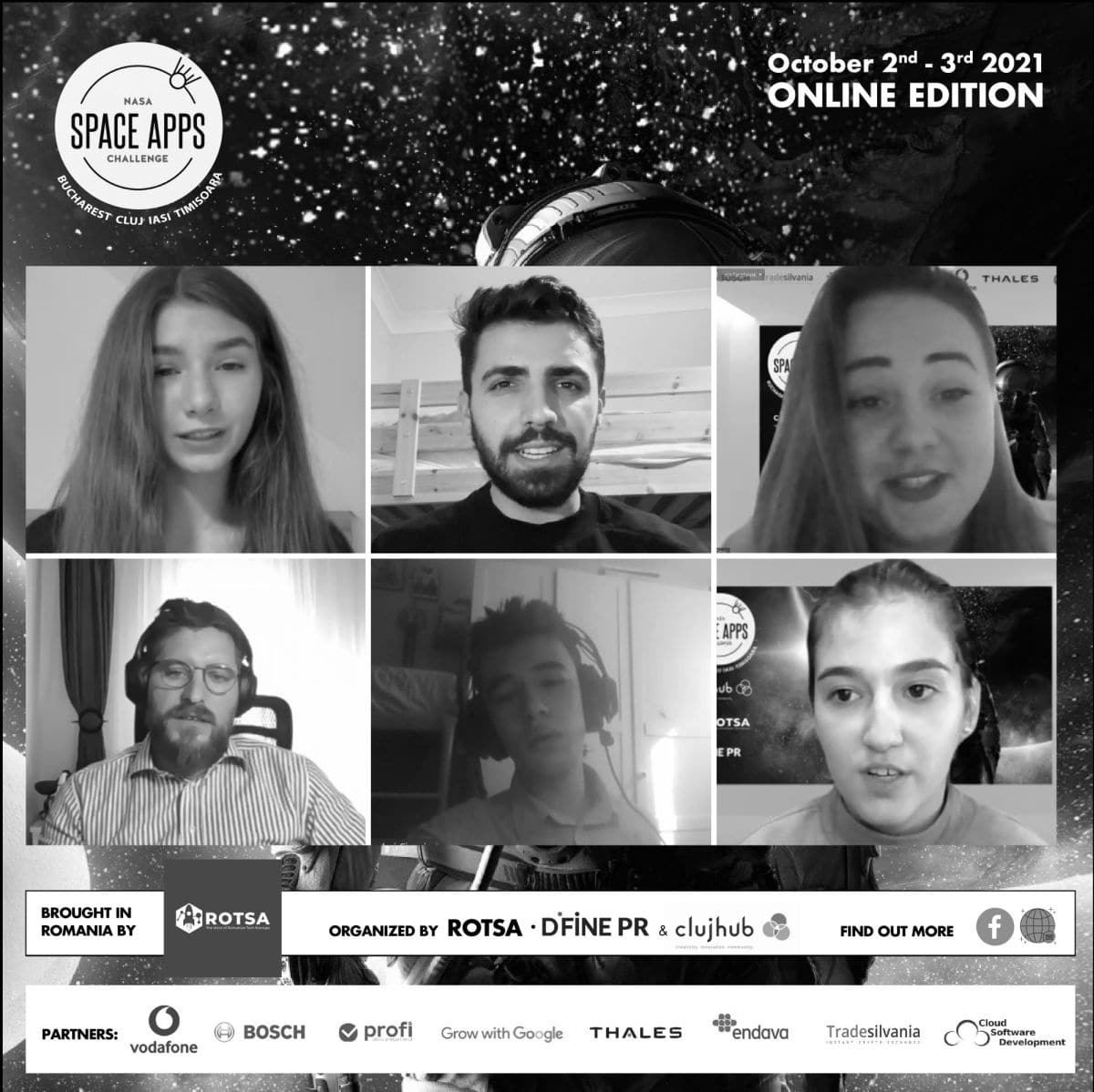 200 participants and 6 winning teams of the NASA Space Apps Challenge Romania 2021 hackathon